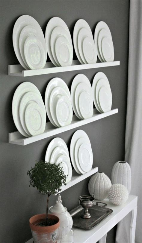 shelf plate display wall decor contemporary style dining room plates  wall diy dining room