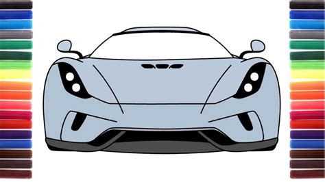 How To Draw A Car Koenigsegg Regera Front View