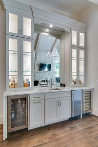 mirror over wet bar sink cottage dining room With kitchen cabinets lowes with backlit glass wall art