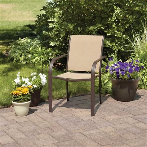 Stackable Patio Chairs Walmart by Mainstays Stacking Sling Chair Dune Patio Furniture