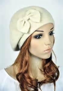 M10 Beige Butterfly Wool Cute Bow Brim Fedora Bucket Hat Cap Street Dress