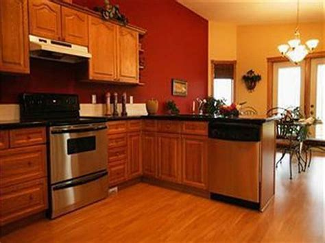 oak kitchen cabinets  red walls google search red