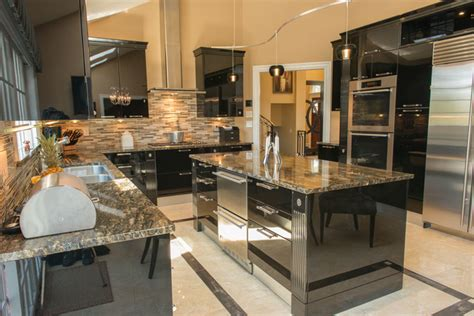 black high gloss kitchen contemporary kitchen