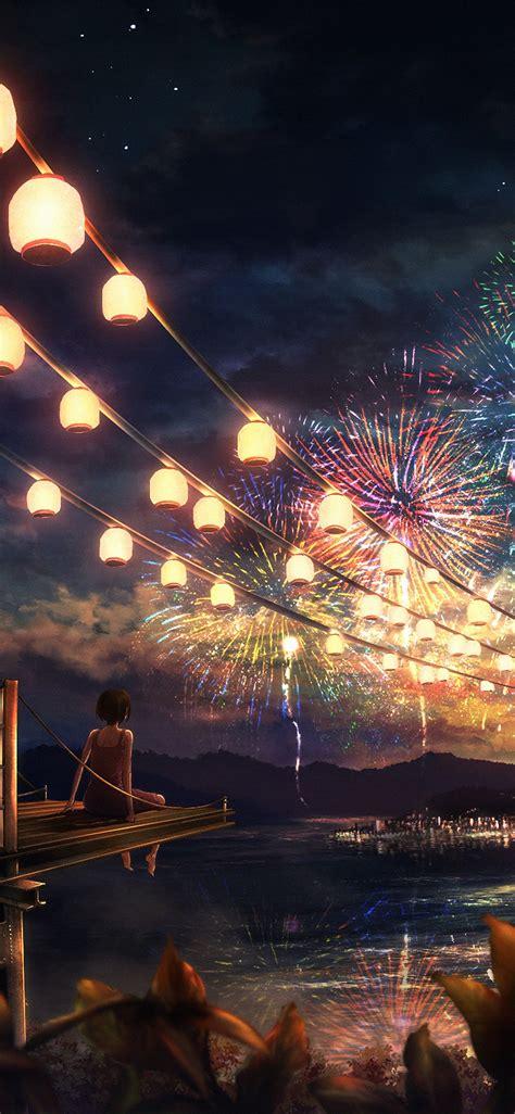 ah firework girl dark night anime art illust papersco