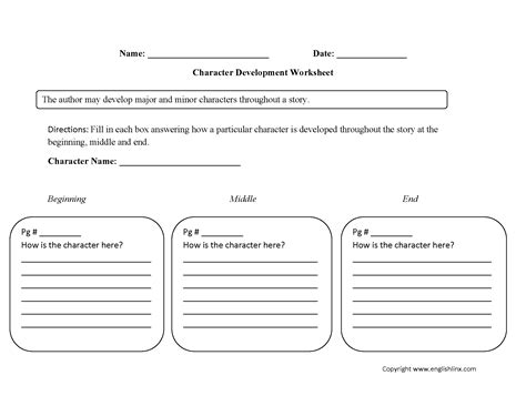 single character development character analysis worksheet englishlinx board character