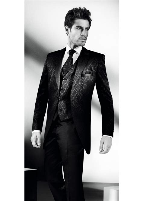 Black Morning 3 Piece Suit With Jaquard Pattern Tom