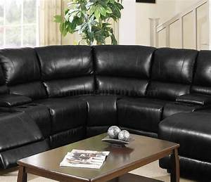 8300 reclining sectional sofa in black bonded leather w With bonded leather sectional sofa with recliners