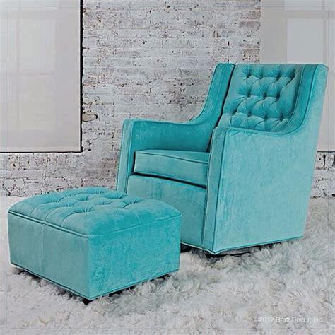 blue chair ottoman turquoise teal aqua
