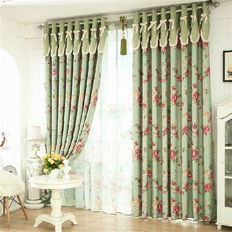 shabby chic style curtains romantic floral green blackout shabby chic curtains