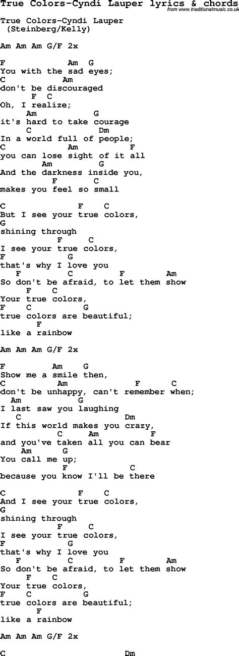 song true colors song lyrics for true colors cyndi lauper with chords
