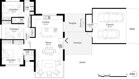 plan de maison plain pied moderne plan maison moderne de plain pied 3 chambres ooreka