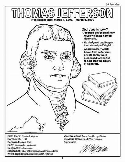 Coloring Jefferson Thomas Presidents Pages President Printable