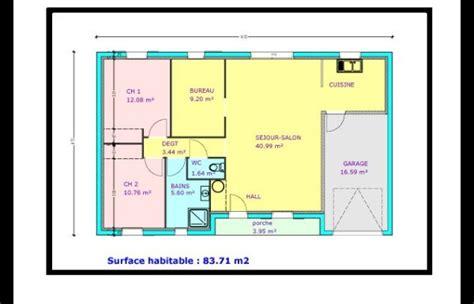plan maison plain pied 2 chambres garage