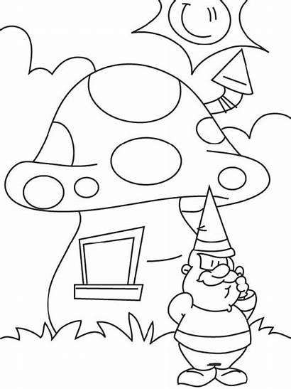 Mushroom Mewarnai Gambar Coloring Jamur Rumah Kartun
