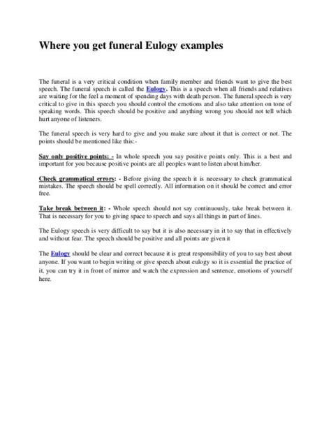 Eulogy Template Exles Of Eulogies Template Business