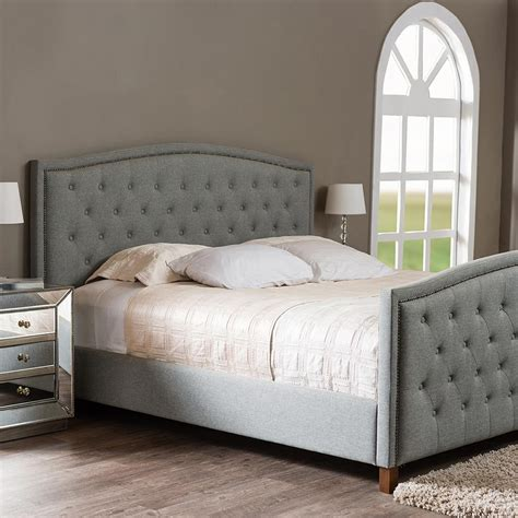 6134 baxton studio king bed baxton studio transitional gray fabric upholstered