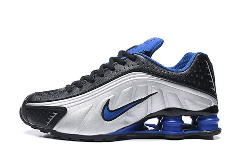 nike air shox  black silver grey royal blue trainers