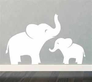 Mom & Baby Elephant Wall Decal Set Jungle Safari Children