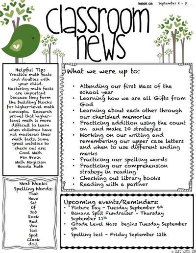 classroom newsletter template  create edit