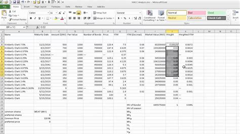 cost  debt spreadsheet explanation wacc project youtube