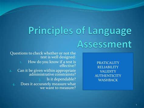principles  language assessment powerpoint