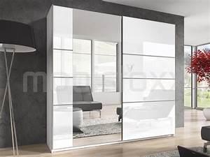 Armoire Laqué Blanc : armoire blurry 2 portes coulissantes 220 cm blanc blanc laqu avec miroir chez mobistoxx ~ Teatrodelosmanantiales.com Idées de Décoration