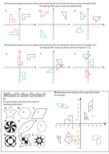 rotation worksheet geometry worksheets rotation