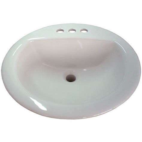 lowes small bathroom sinks shop aquasource white drop in round bathroom sink with