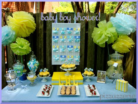 brown and baby blue baby shower decorations blue yellow baby shower pizzazzerie