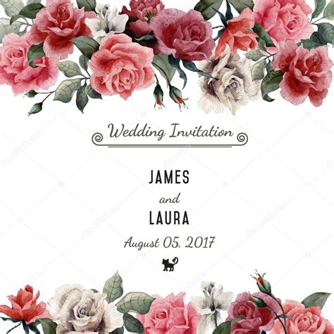 watercolor greeting card  roses stock photo