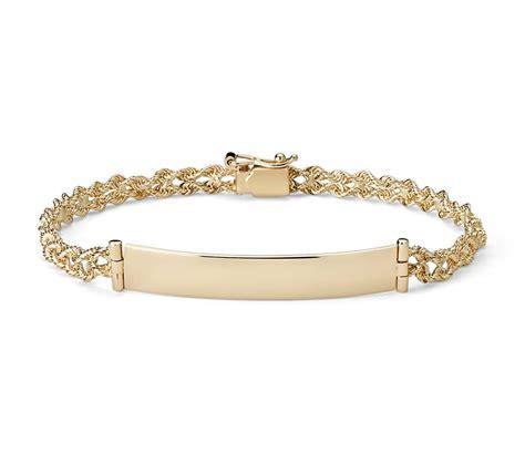 gold bracelet 14k engraveable id bracelet in 14k yellow gold blue nile
