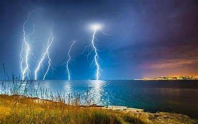 Lightning Reflection Water Gulf Nature Sea Wallpapers