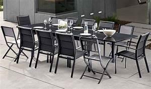 Salon De Jardin Aluminium 10 Personnes : salon de jardin noir 12 personnes avec rallonge modulo ~ Dailycaller-alerts.com Idées de Décoration