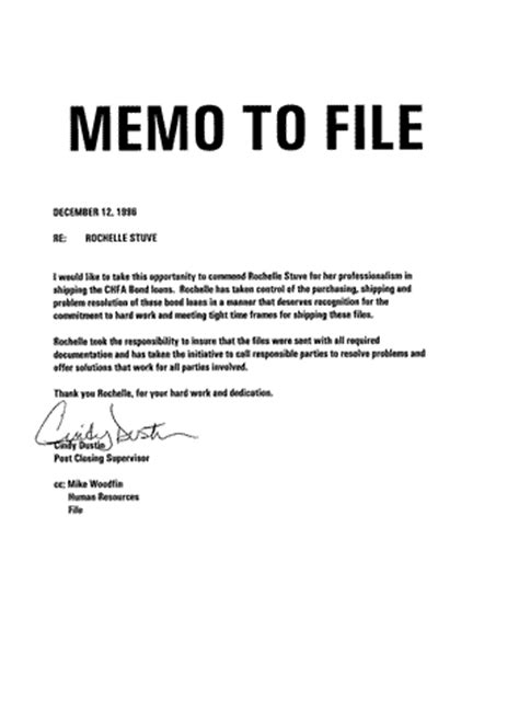 Memo To File Template by Memo To File Of Commendation From Supervisor