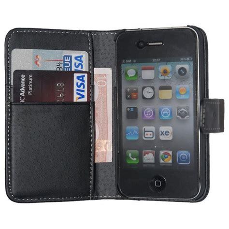 housse portefeuille iphone 4 housse etui cuir noir ouverture portefeuille pour iphone 4 4s