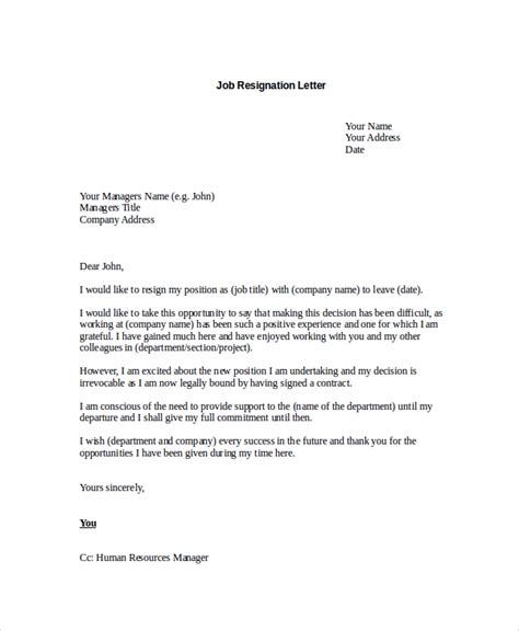 sample resignation letter  examples   word