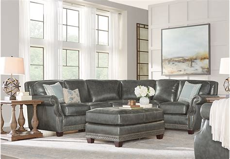 charcoal sofa living room frankford charcoal 4 pc leather sectional living room