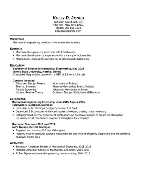 28 resume sle for mechanical engineer automotive engineering internship resume sle 28 images