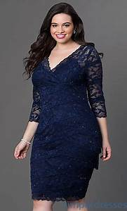 Lace 3/4 Sleeve Knee-Length Full-Figure Dress | plus plus ...