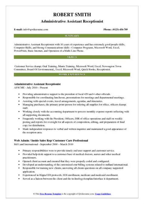 administrative assistant receptionist resume sles