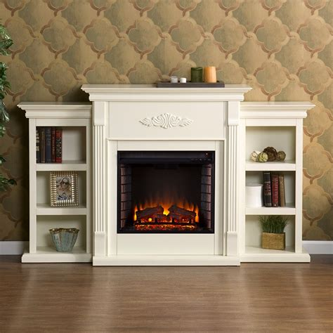White Electric Fireplace With Bookcase by 70 25 Tennyson Ivory Electric Fireplace W Bookcases