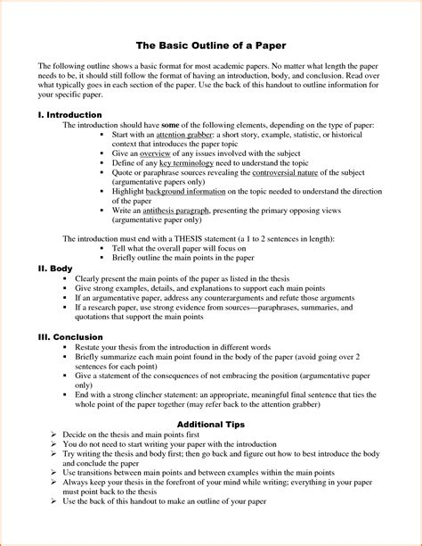 Paper Outline Template 9 Research Paper Outline Template Authorizationletters Org