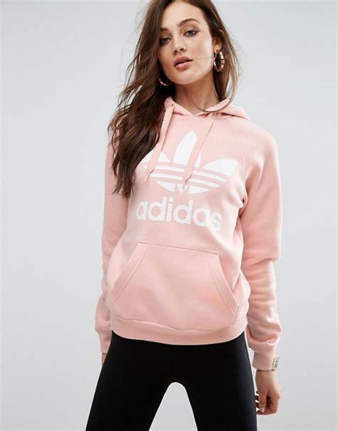 adidas originals pink trefoil boyfriend hoodie asos