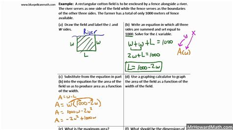 Quadratic Area Applications Word Problems Youtube
