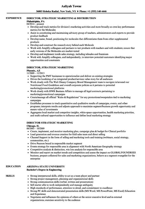 Director, Strategic Marketing Resume Samples | Velvet Jobs
