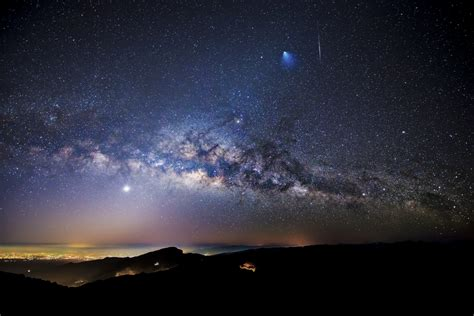 Across The Universe Rocket Meteor And Milky Way Over