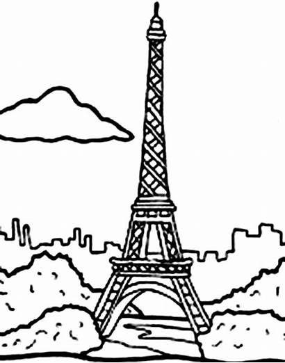 Eiffel Tower Paris Coloring Pages France Holiday