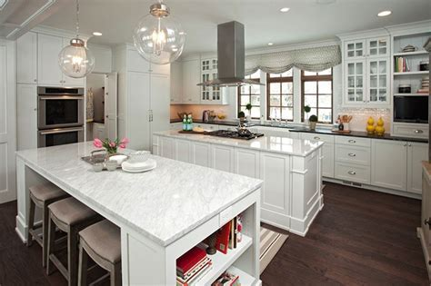 Double Kitchen Islands   Transitional   kitchen   Studio M