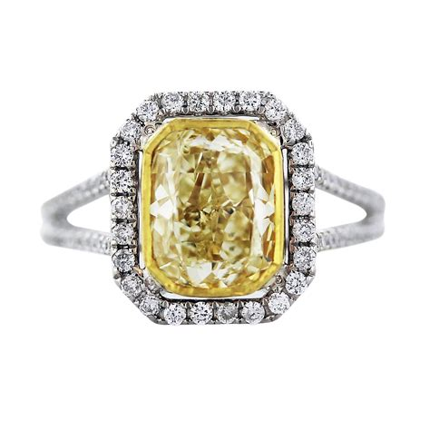 vintage engagement rings for sale cushion cut fancy yellow engagement ring in 18k