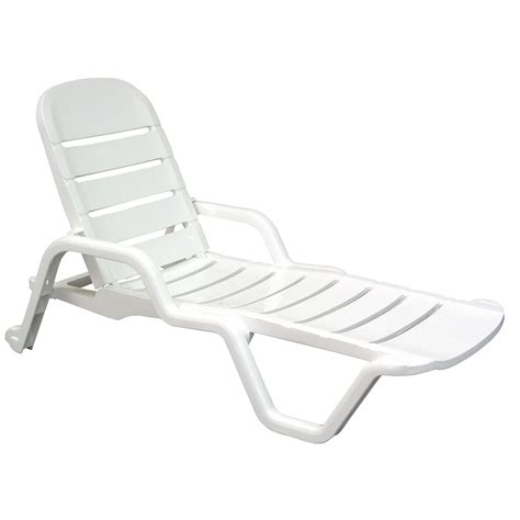 shop mfg corp white resin stackable patio chaise